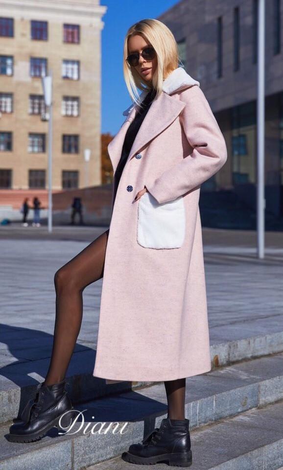 Длинное пальто из шерсти с накладными карманами 1402141