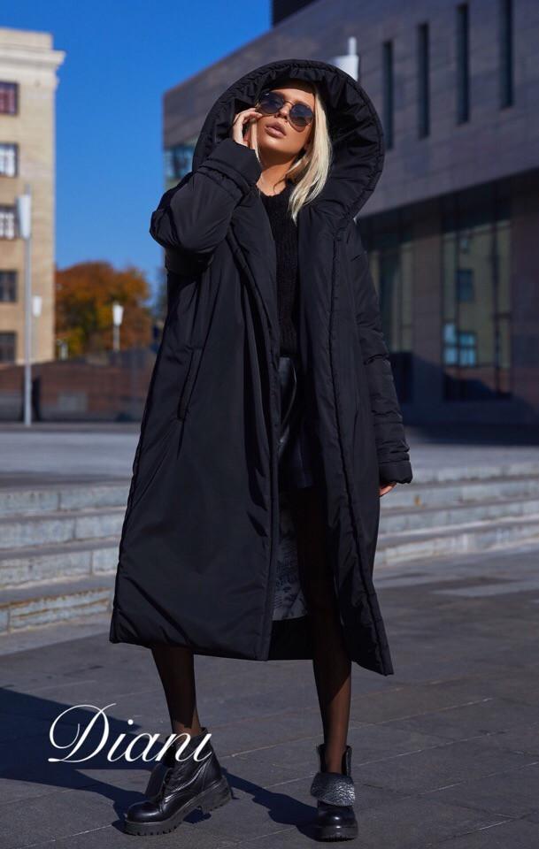 Плащевое пальто объемное с большим капюшоном 1402142