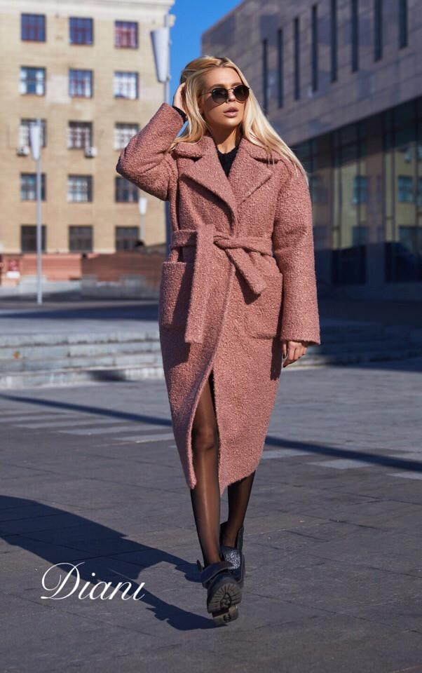 Буклированное пальто с карманами под пояс 1402143