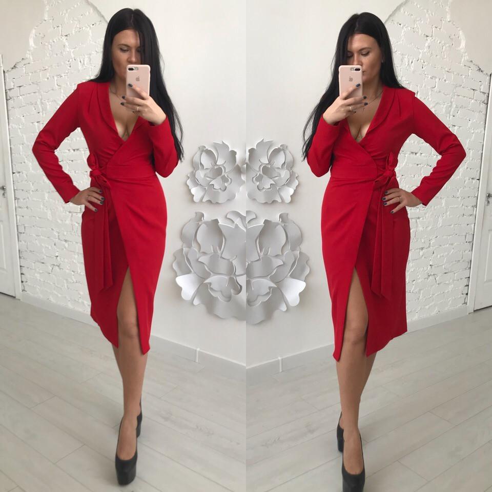 Платье на запах с поясом и длинным рукавом 58031995