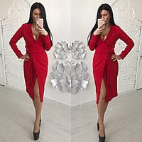 Платье на запах с поясом и длинным рукавом 58031995, фото 1
