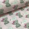 Ткань польская хлопковая, мишки-девочки с розовым бантом на розовом