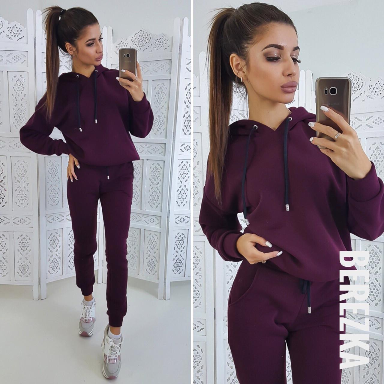 Женский теплый спортивный костюм с худи на флисе 1405500