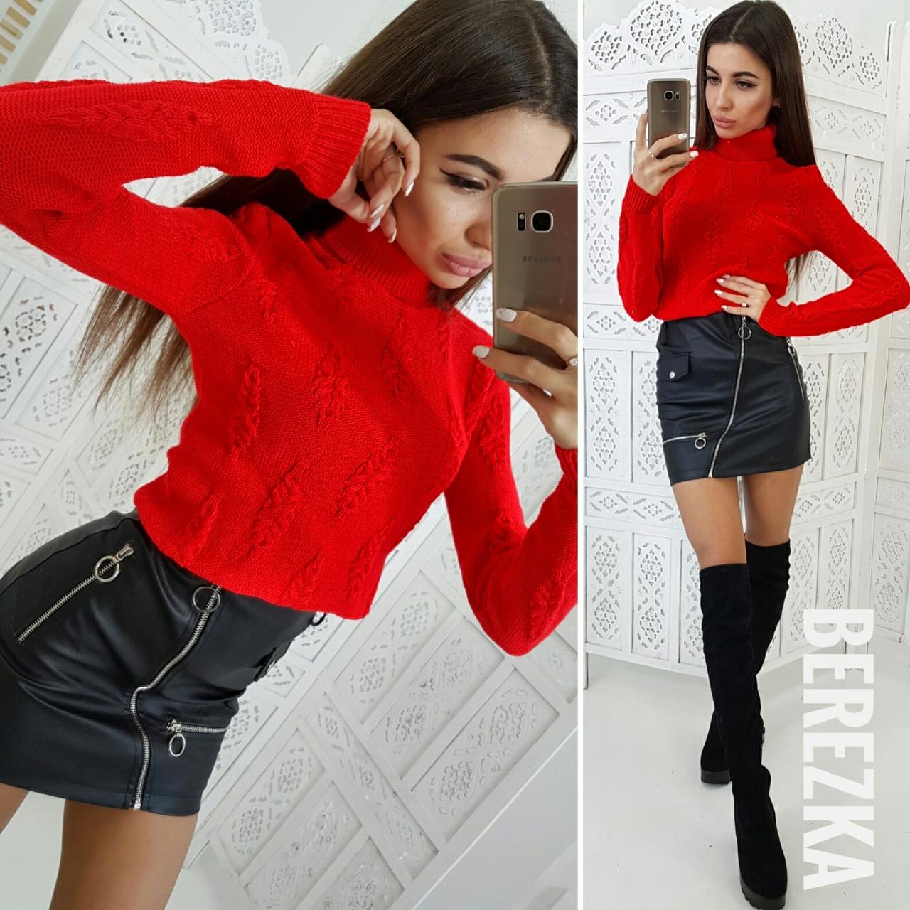 Юбочный женский костюм со свитером 6610879