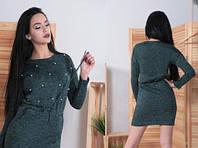 Платье-туника с жемчугом, красивая повседневная туника. Размеры норма: 42, 44, 46, 48, 50. 52. Разные цвета