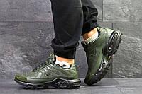 Мужские зимние кроссовки Nike Air Max Tn кожаные качественные повседневные удобные зеленые, ТОП-реплика, фото 1
