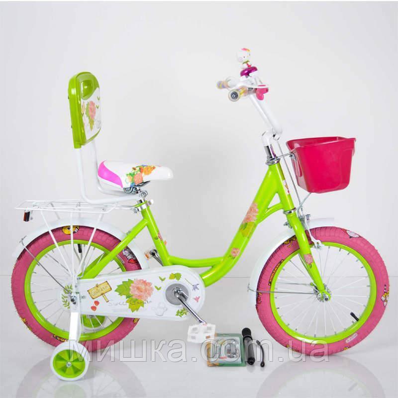 """Дитячий двоколісний велосипед для дівчинки 18"""" ROSES Green"""