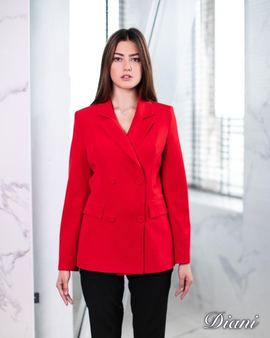 Женский пиджак двубортный однотонный 1409166