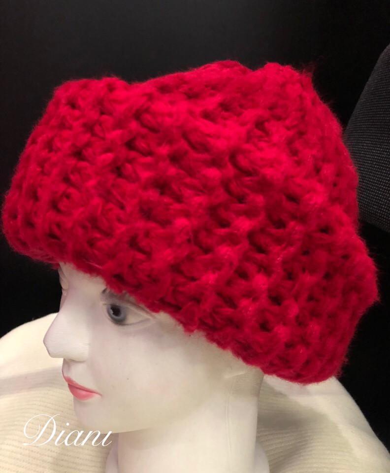 Женская шапка крупной вязки с отворотом 1407152