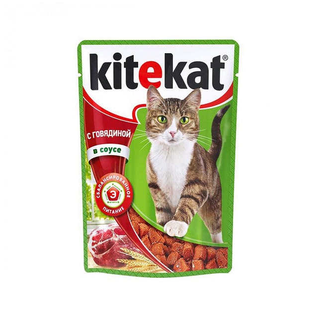 """Влажный корм для кошек Kitekat (Китикет ) """"Сочные кусочки с говядиной в соусе"""" 100 гр, пауч."""