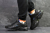 Мужские зимние кроссовки Nike Air Max Tn  спортивные хитовые повседневные низкие в черном цвете, ТОП-реплика, фото 1