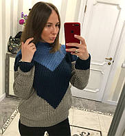 Тёплый свитер Уголок ( хаки+чёрный+синий), фото 1