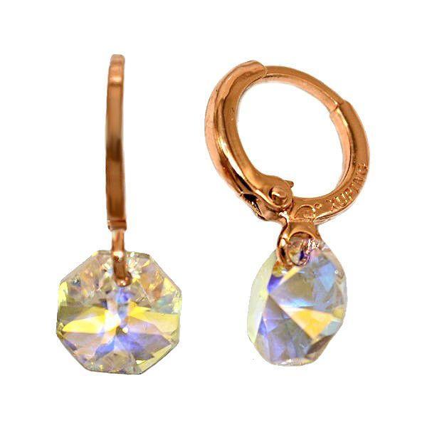 Серьги фирмы XР. Цвет:позолота с кр.от.Камни: циркон. Высота серьги: 2 см. Диаметр кристалла: 6 мм.
