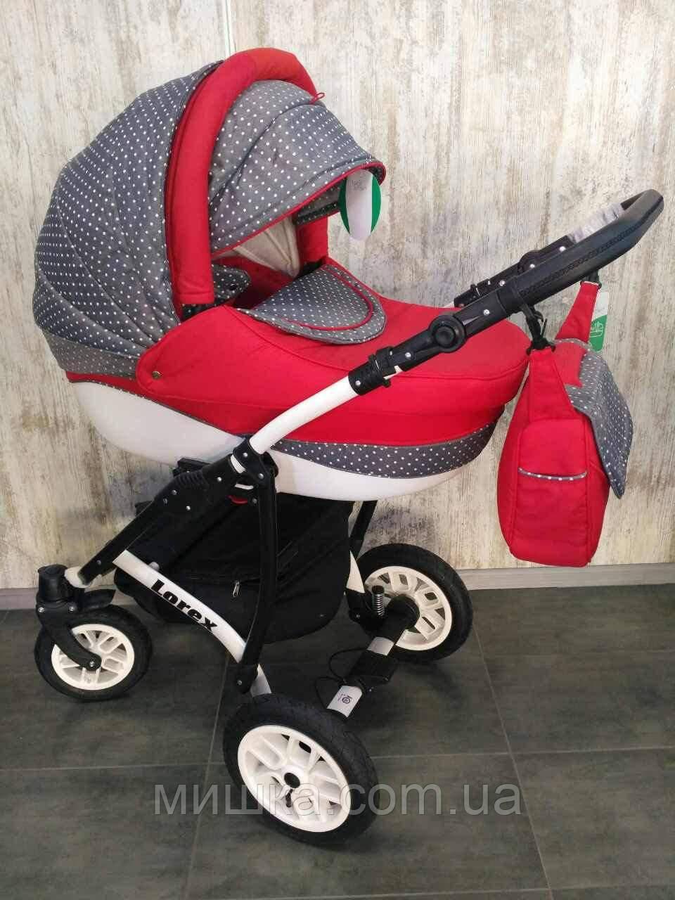 Детская коляска LOREX REMIX  универсальная серо-красная