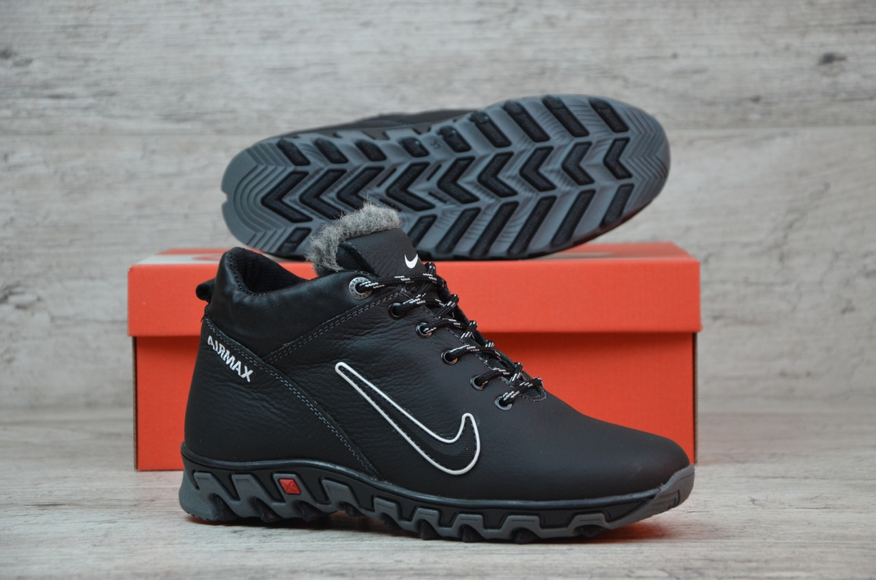 ff75c4b2e6fb Детские кожаные зимние кроссовки Nike черные с серым топ реплика -  Интернет-магазин обуви и