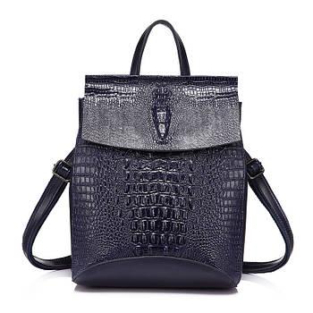 Рюкзак сумка міський жіночий шкіряний з тисненням під крокодила (синій)