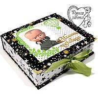 Шкатулка Мамины сокровища на рождение для мальчика Беби Босс ручной работы 18 на 20 см, большая, фото 1