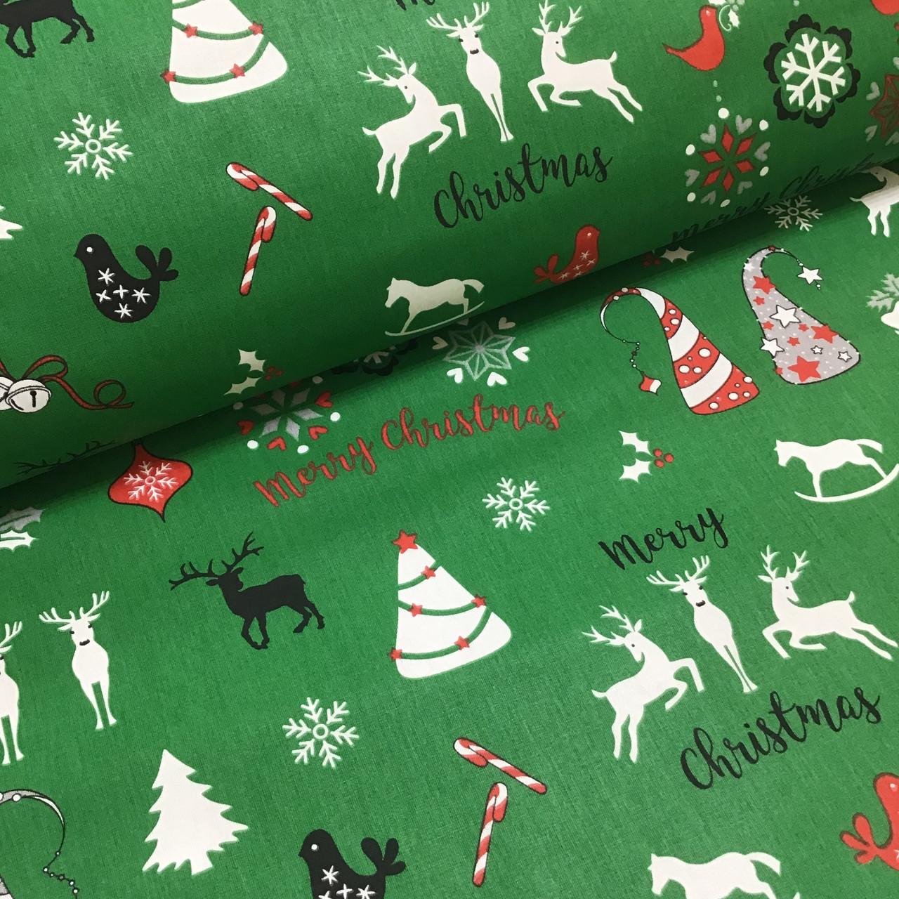 Ткань хлопковая новогодняя, Christmas на зеленом
