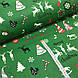 Ткань хлопковая новогодняя, Christmas на зеленом, фото 2