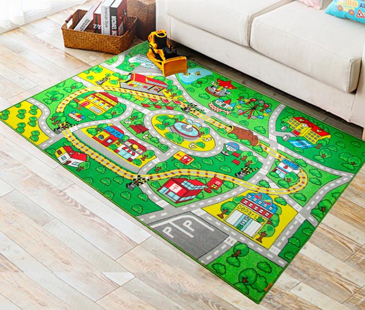 Детский коврик на резиновой основе Город