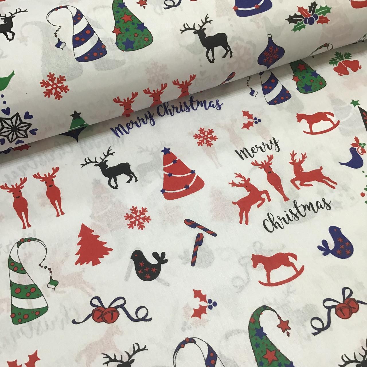 Ткань новогодняя хлопковая, Christmas на белом