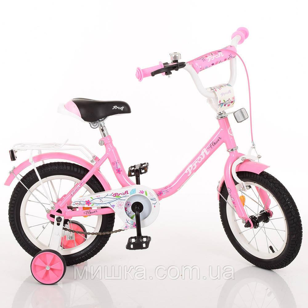 """Детский велосипед PROF1 Y1481 Flower 14"""" двухколесный, розовый"""