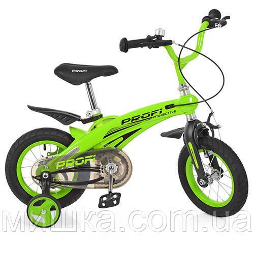 """Детский велосипед PROF1 LMG12124 12"""" магниевая рама, зеленый"""