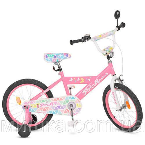 """Детский велосипед PROF1 L18131 Butterfly 18"""" двухколесный, розовый"""