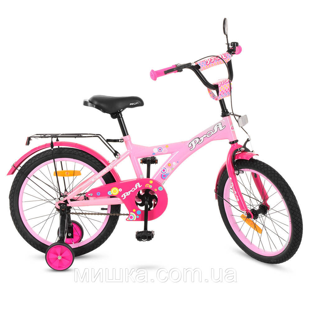 """Детский велосипед PROF1 T1861 Original 18"""" двухколесный, розовый"""