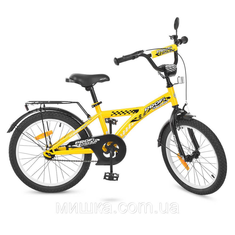 """Детский велосипед PROF1 T2032 Racer 20"""" двухколесный, желтый"""