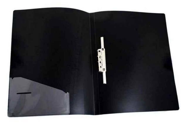 Папка 4 Office, 4-217, А4, з довгиим притиском + кишеня, чорна, фото 2