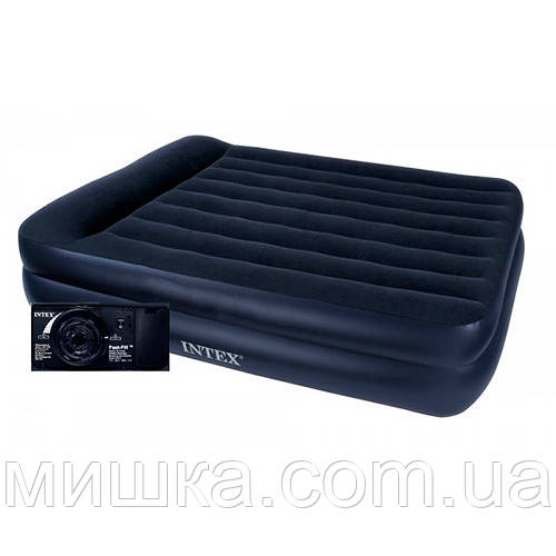 Односпальная надувная кровать 99*191*42 см Intex 64122 со встроенным насосом