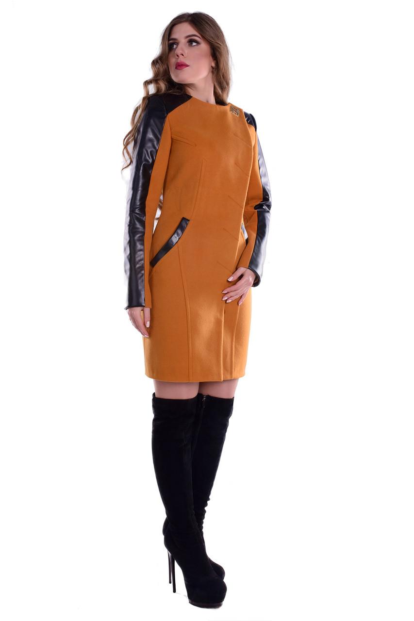 Пальто кашемірове, пальтовая тканина, вставки еко-шкіра, приталеного силуету, без ворота, дві кишені р. S 5269М