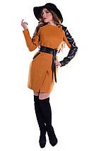 Пальто кашемірове, пальтовая тканина, вставки еко-шкіра, приталеного силуету, без ворота, дві кишені р. S 5269М, фото 2