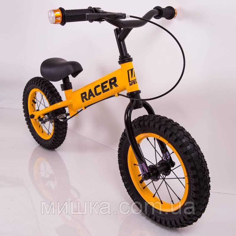 Детский беговел Racer BA12-04 с ручным тормозом, синий