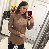 Вязаный свитер -туника Эльза молочный шоколад