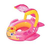Надувной детский BW ПЛОТИК 34108 с навесом, розовый