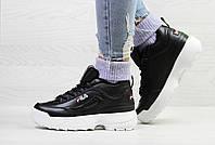 Кроссовки женские Fila зимние теплые брендовые топовые фила стильные в черном цвете, ТОП-реплика, фото 1