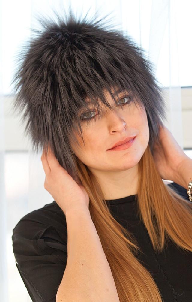 Женская шапка  из натурального меха финской чернобурки люкс класса  V4-35  Графит