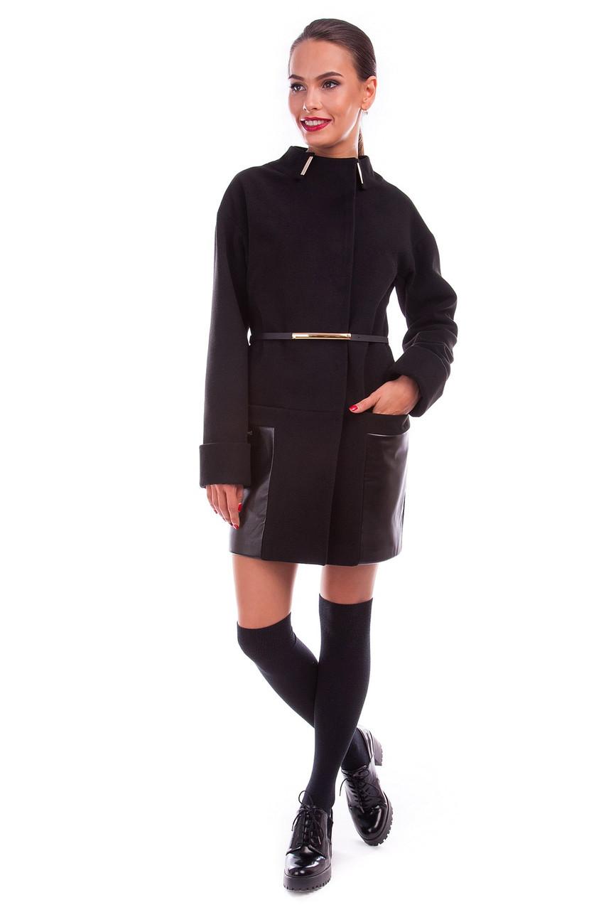Пальто кашемировое, пальтовая ткань, производство Корея, без утеплителя, на подкладке, черное,прямое,р.L 5265М