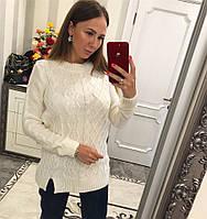 Вязаный свитер -туника Эльза белый
