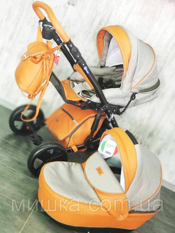 """Всесезонная детская коляска 2 в 1 """"POLO"""" оранжево-серая"""