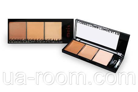 Палитра консилеров-корректоров 3 цв. Meis professional make-up artist MS0303C (прямоуг), фото 2