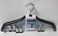 Металлические костюмные плечики вешалки чёрные с прищепками для брюк , фото 1
