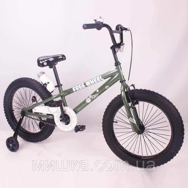 """Детский велосипед SIGMA FREE WHEEL-20"""" серо-зеленый"""