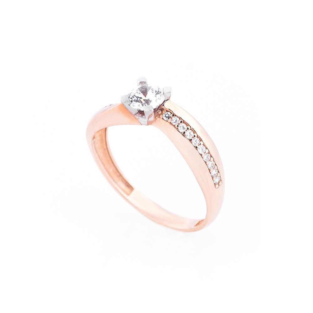 Женское золотое помолвочное кольцо с фианитами гк03339