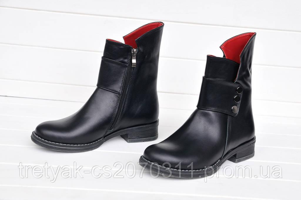 Ботинки женские из кожи низкий ход с заклёпками зима
