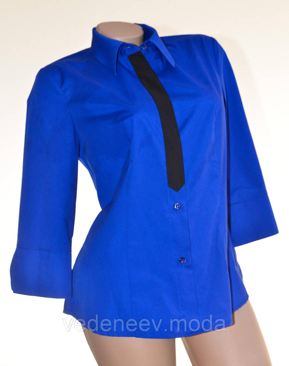 Синяя корпоративная женская блуза с рукавом 3/4 и планкой галстуком