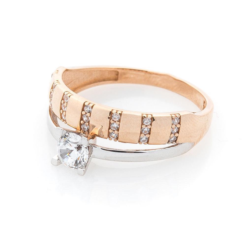 Золотое помолвочное кольцо с фианитами гк04240