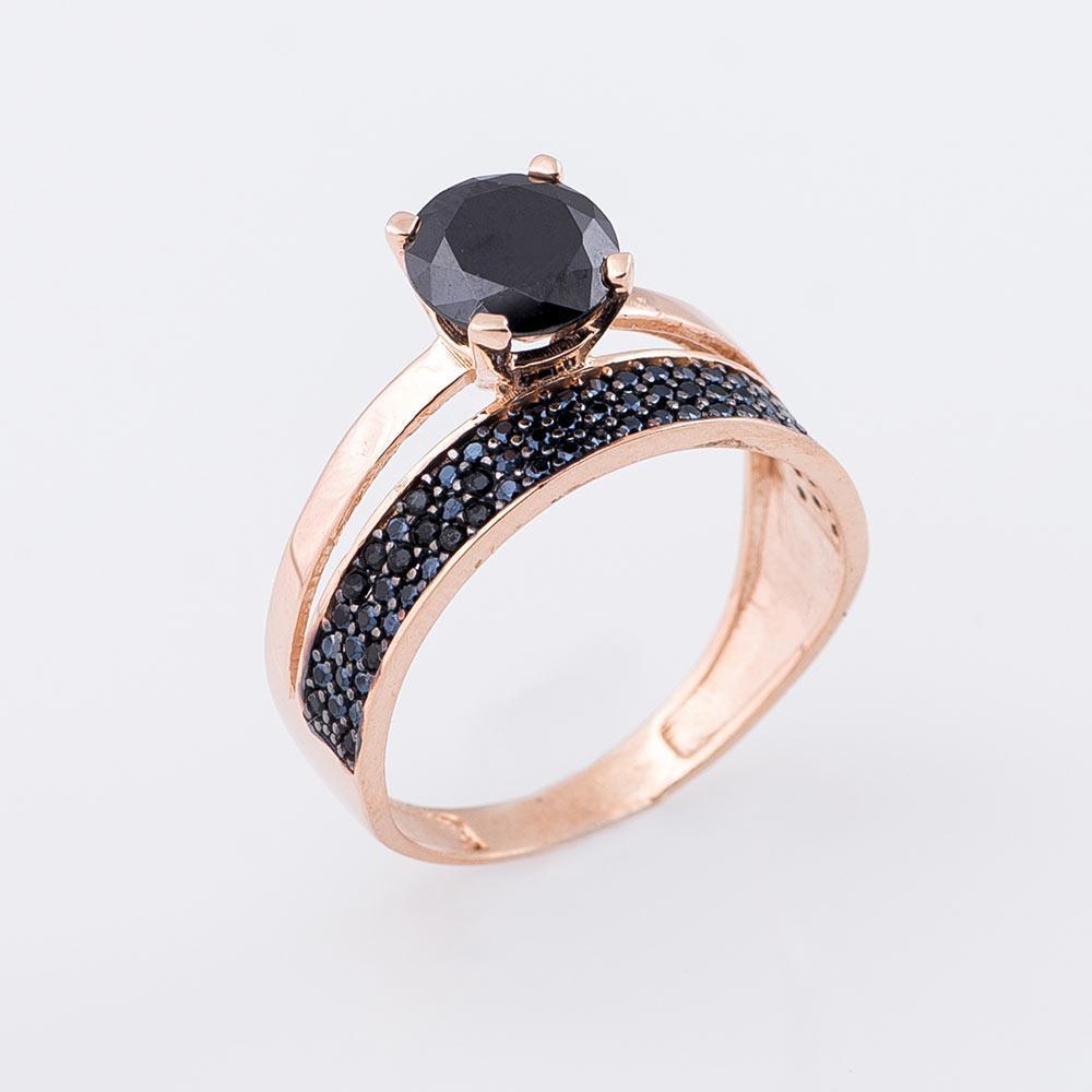 Золотое кольцо с черными фианитами гк04841